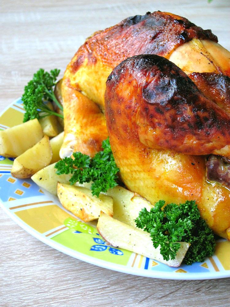 Курка, запечена під медово-гірчичним соусом
